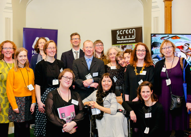 Members of Accentuate UK join Esther Fox at the Accentuate History of Place Celebration hosted at the Houses of Parliment, London. January 10th 2018  History of Place ended their successful three-year Heritage Lottery Funded project today with a celebration event at the Houses of Parliament to mark their success in bringing 800 years in the lives of deaf and disabled people to a wider public.  But project leads gave a clear call to the sector that more must be done to include disabled people in museums and archives.