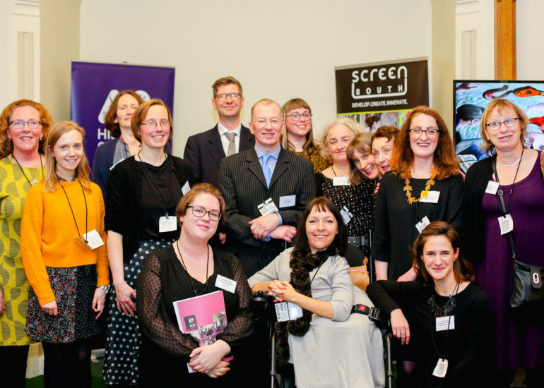 Members of the Accentuate UK programme and Artist Esther Fox at the Accentuate History of Place Celebration hosted at the Houses of Parliment, London. January 10th 2018  History of Place ended their successful three-year Heritage Lottery Funded project today with a celebration event at the Houses of Parliament to mark their success in bringing 800 years in the lives of deaf and disabled people to a wider public.  But project leads gave a clear call to the sector that more must be done to include disabled people in museums and archives.